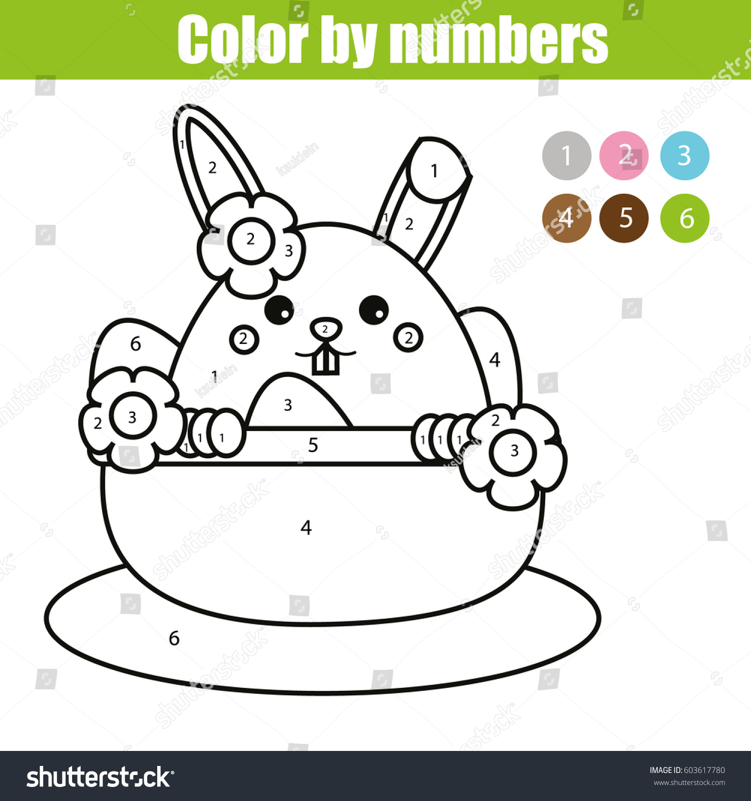 Coloring Page Easter Bunny Character Color Stock Vector 603617780 ...