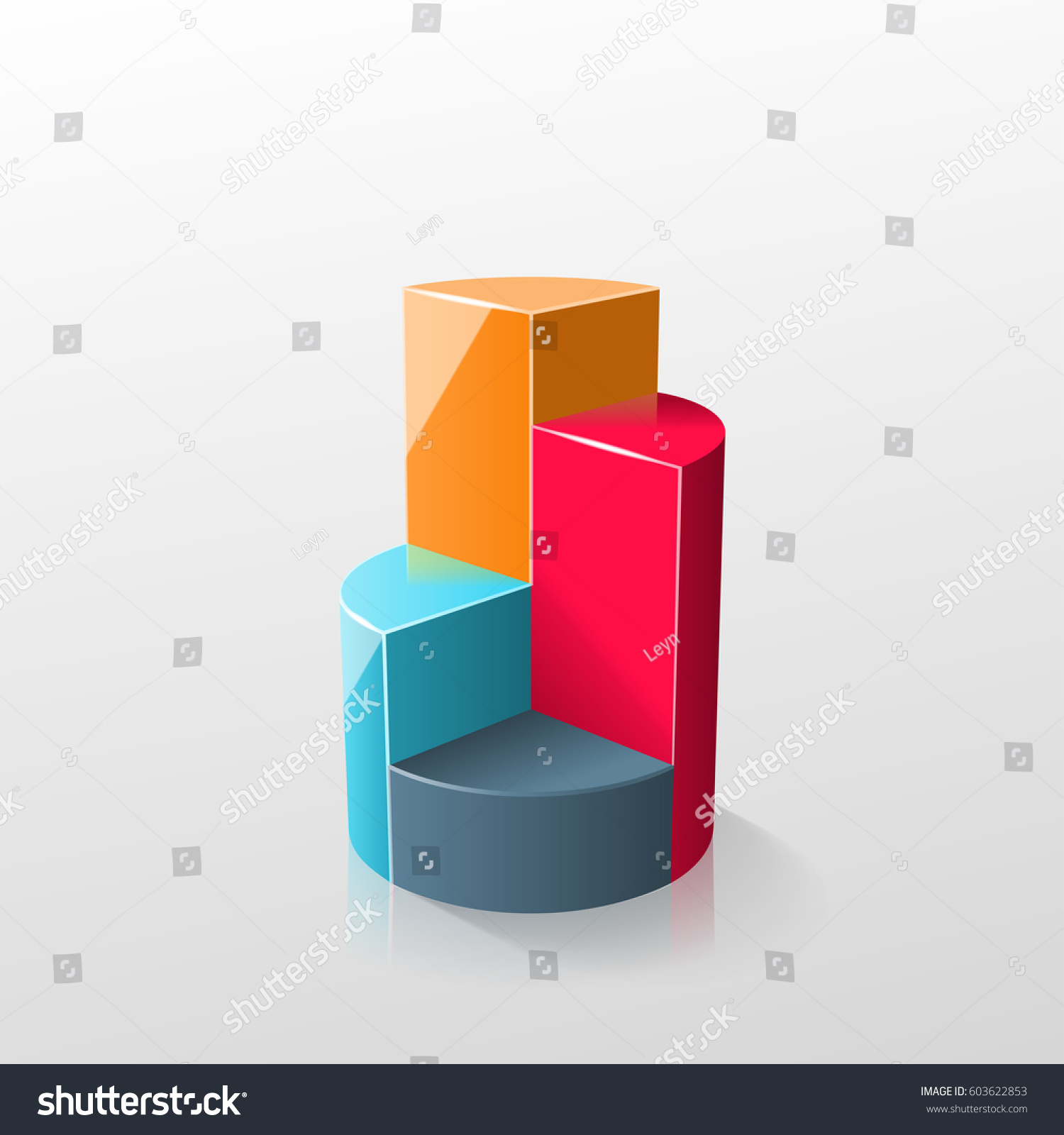 Creative Colorful 3 D Pie Chart Can Stock Illustration 603622853 ...