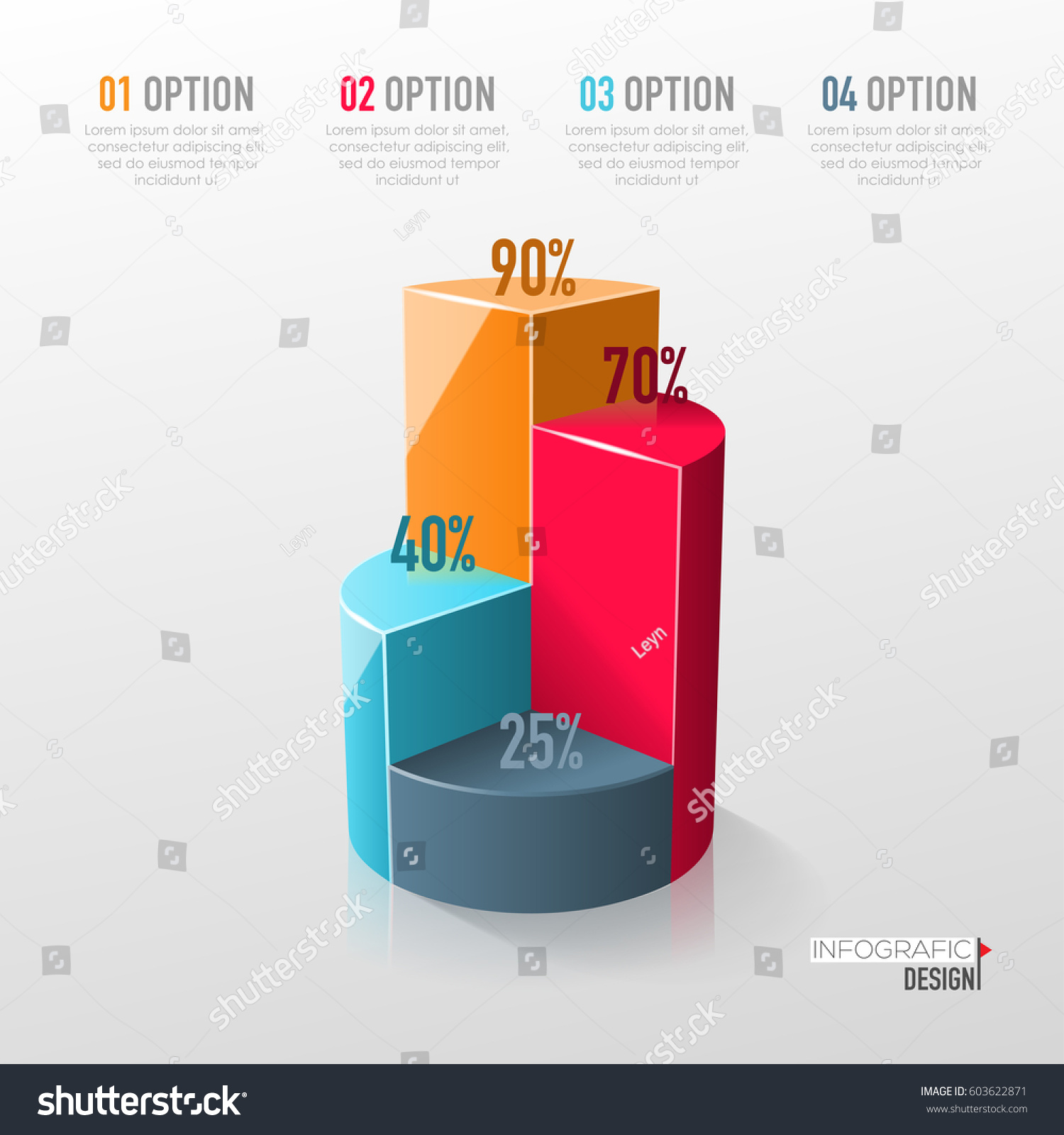 Creative Vector Colorful 3 D Pie Chart Stock Vector 603622871 ...