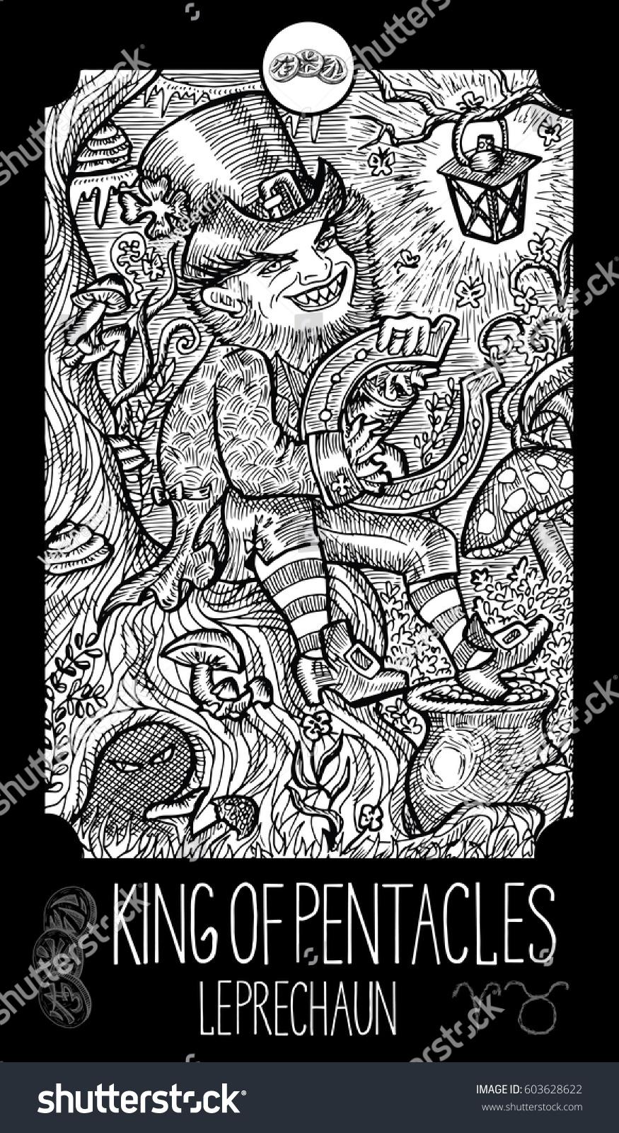 King pentacles leprechaun minor arcana tarot stock vector leprechaun minor arcana tarot card fantasy line art illustration ccuart Choice Image