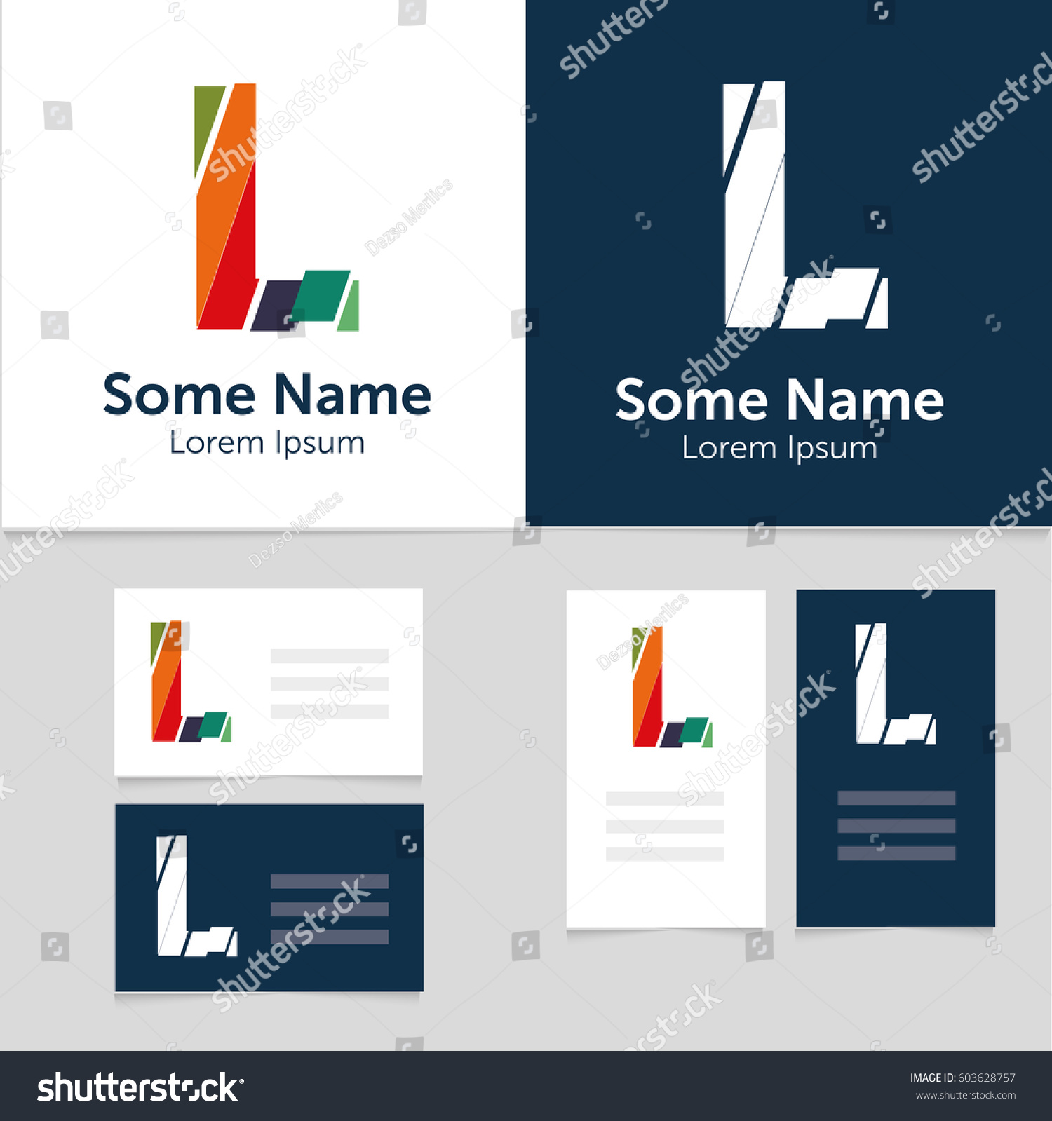 Editable Business Card Template L Letter Stock Vector 603628757 ...