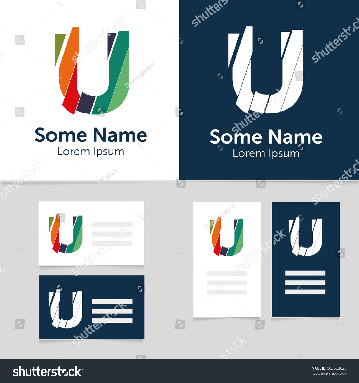 Editable business card template u letter stock vector 603628823 editable business card template with u letter logoctor illustrationeps10 cheaphphosting Choice Image