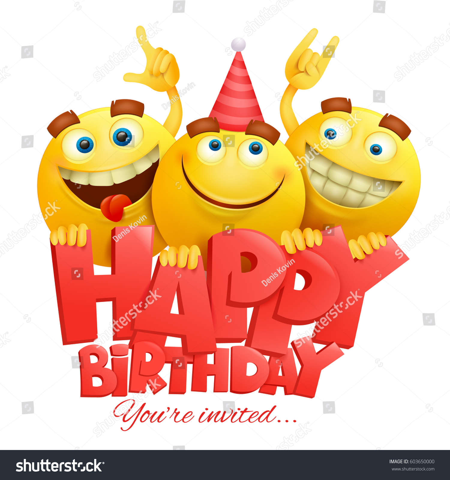 Smiley Yellow Faces Emoji Characters Happy Birthday Card Realistic Vector Illustration