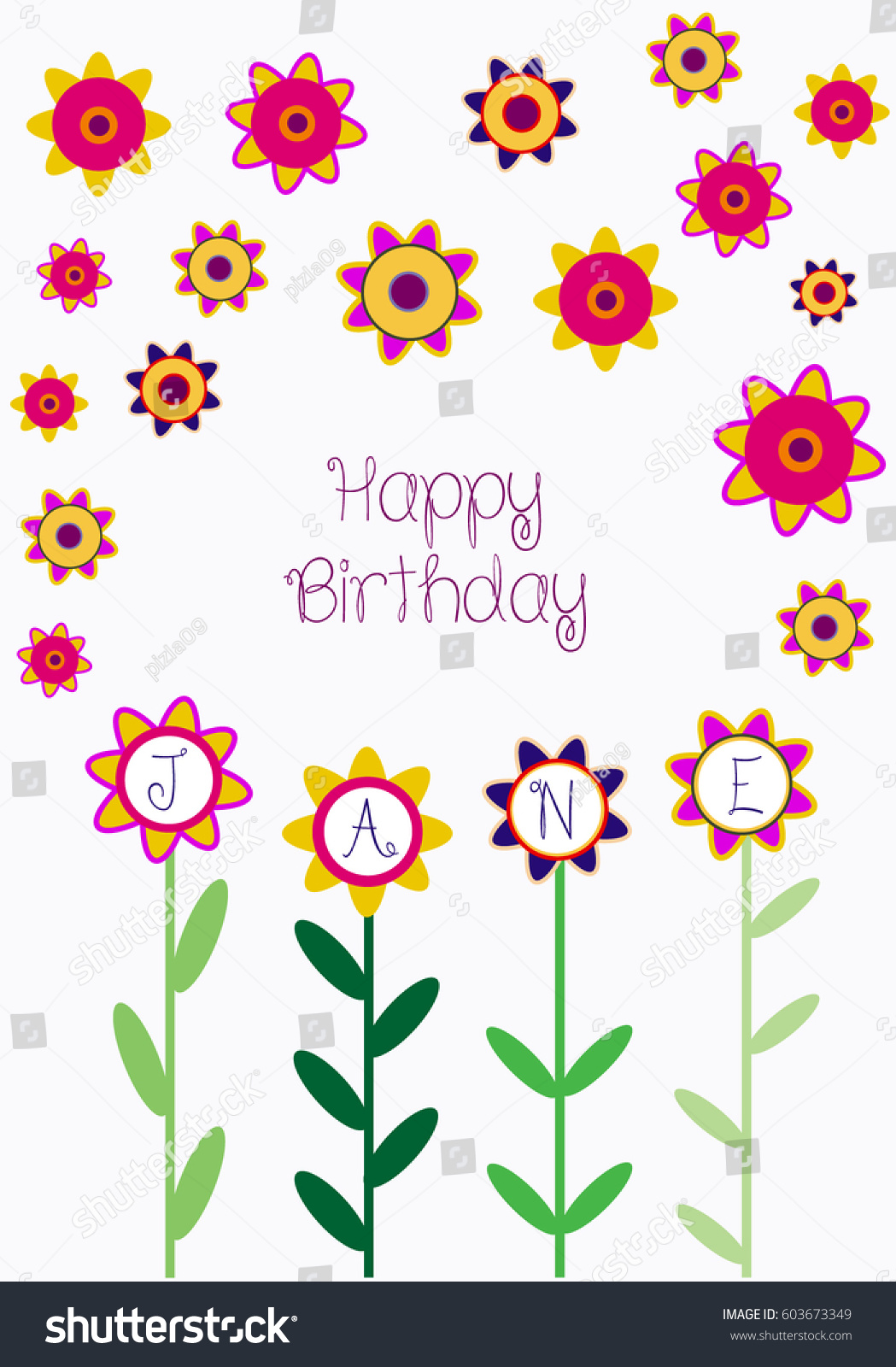 Color Vector Happy Birthday Card Flowers Stock Vector Royalty Free