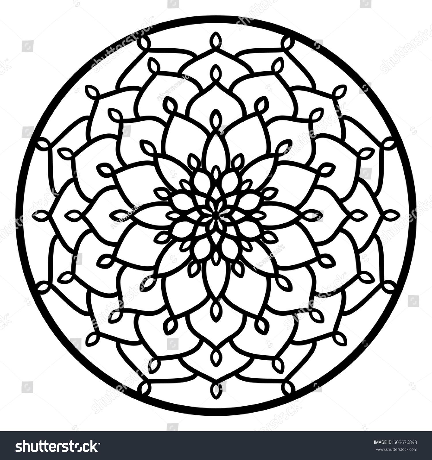 Vector Stencil Lacy Round Ornament Mandala Stock Vector 603676898 ...