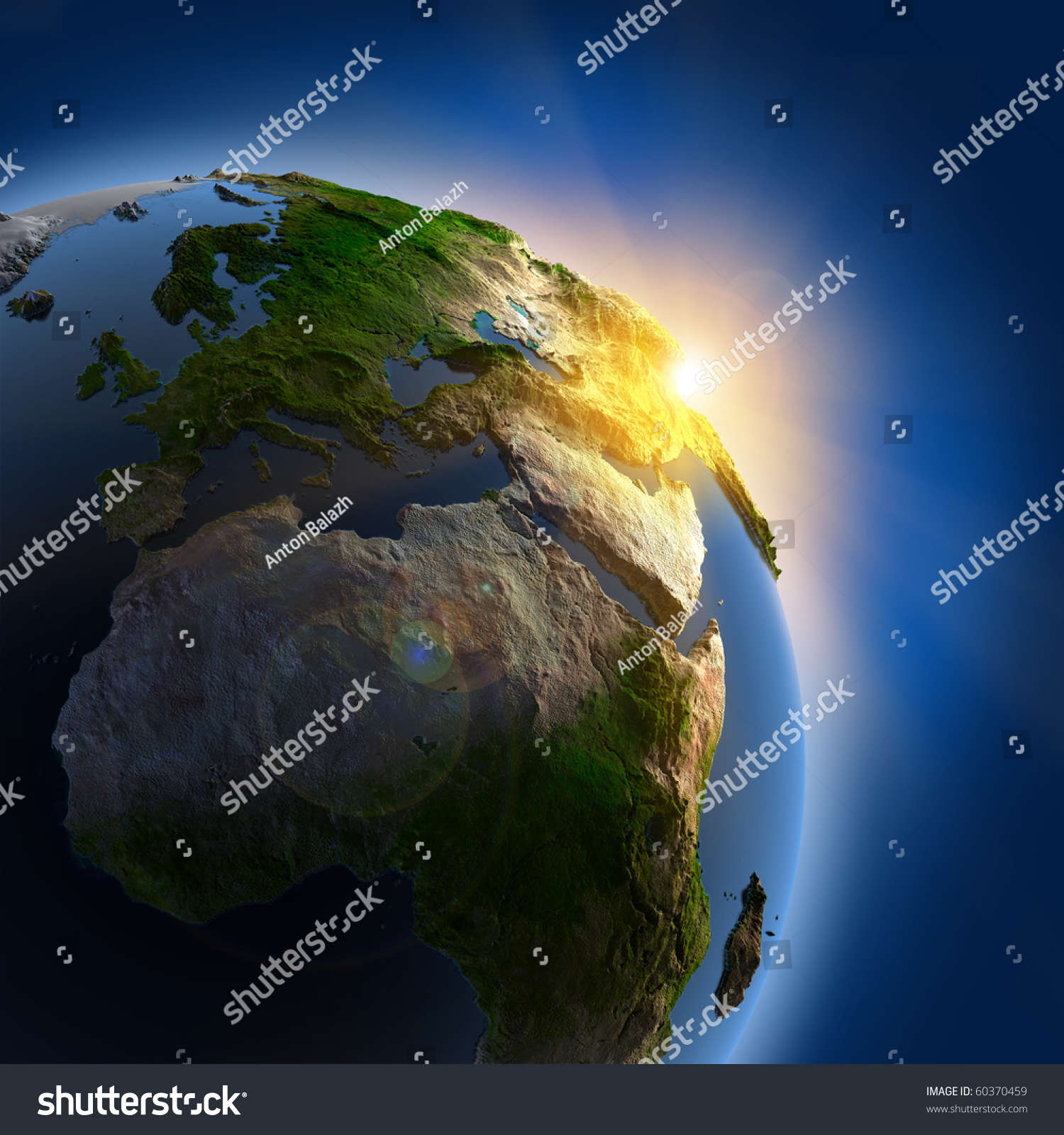 Suns rays rising sun illuminate earth stock illustration for 3d map of outer space