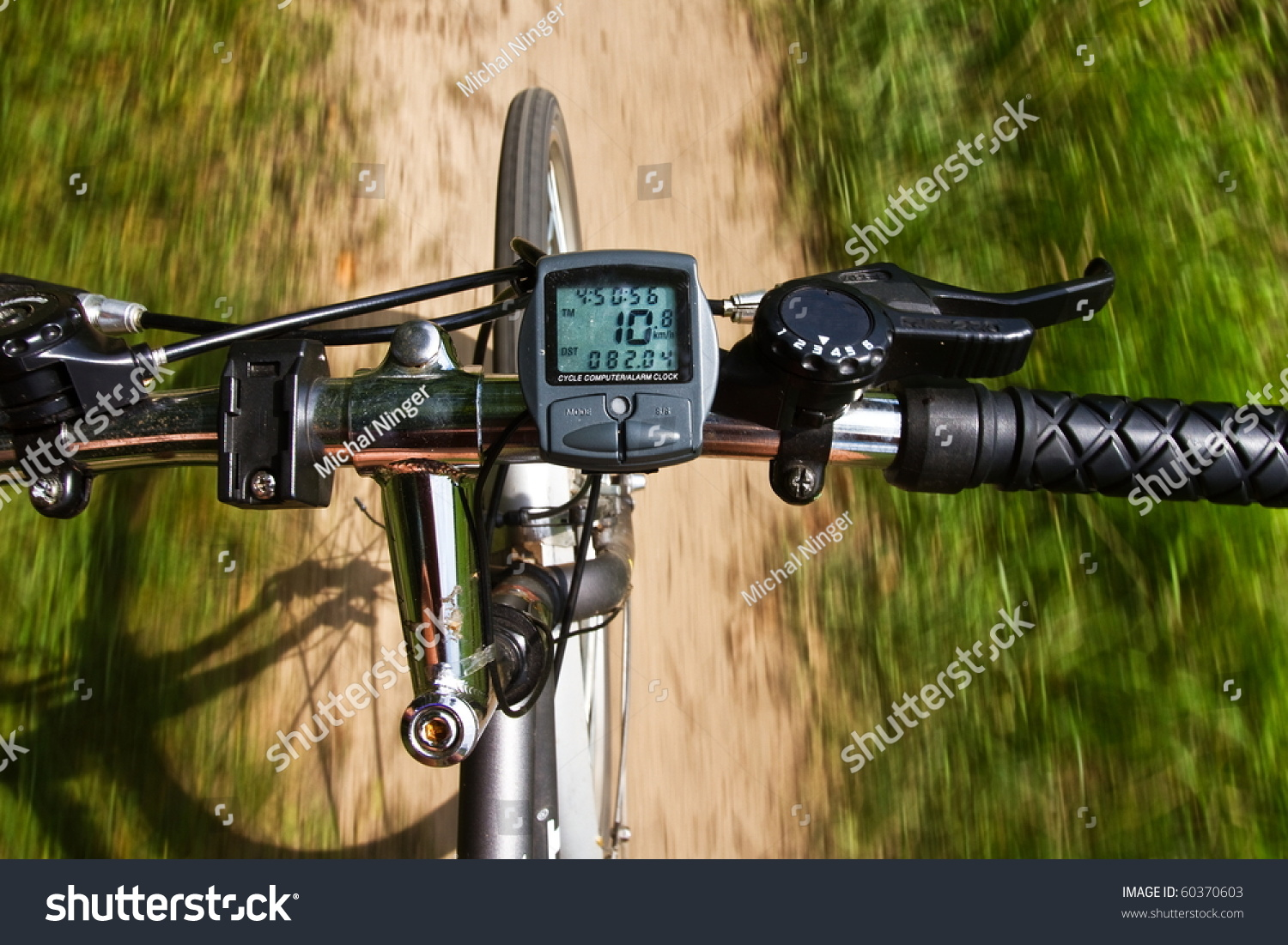 detail the handlebars of a bicycle while driving