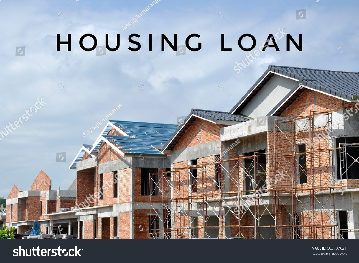 Facade two story luxury terrace house stock photo for Mortgage for house under construction