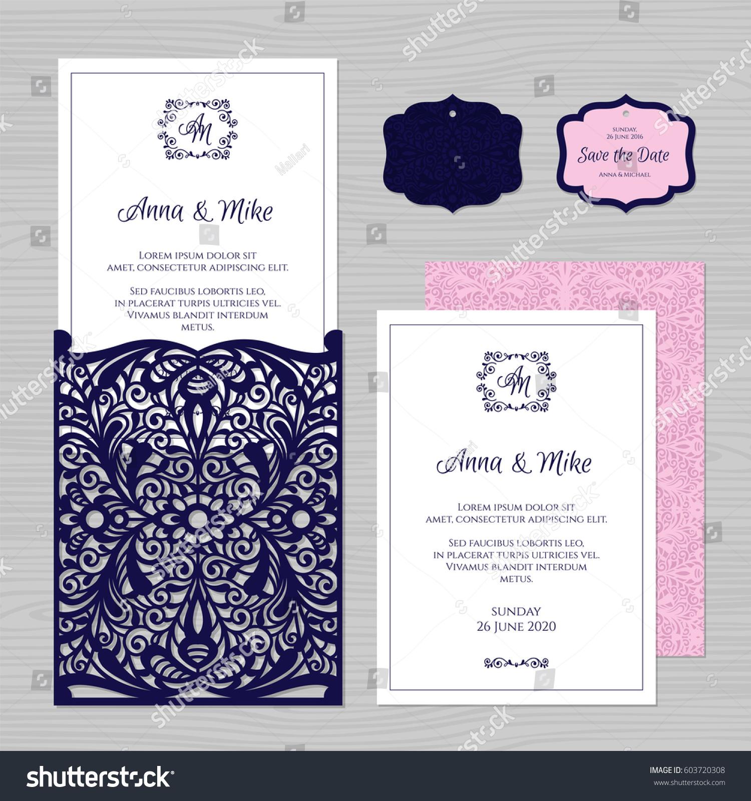 Wedding Invitation Greeting Card Vintage Ornament Stock Vector ...