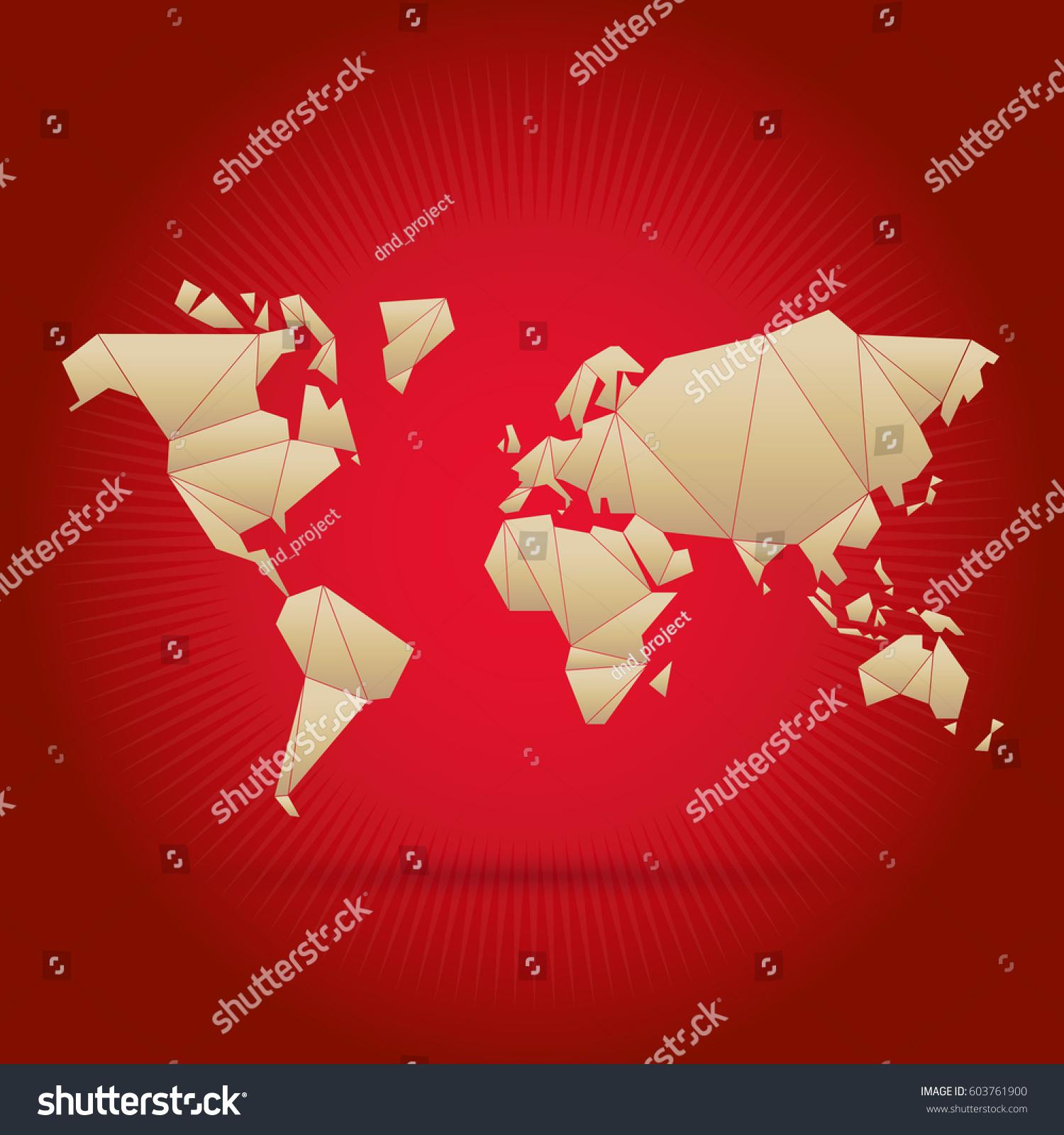 Origami world map vector stock vector 603761900 shutterstock origami world map vector gumiabroncs Choice Image