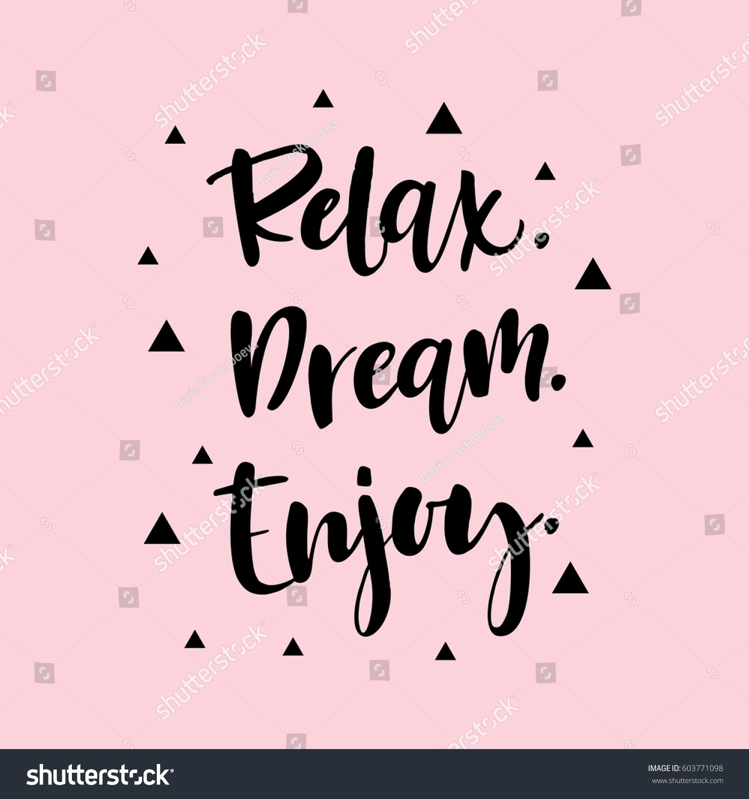 Relax Dream Enjoy Motivational Quote Stock Vector Royalty Free