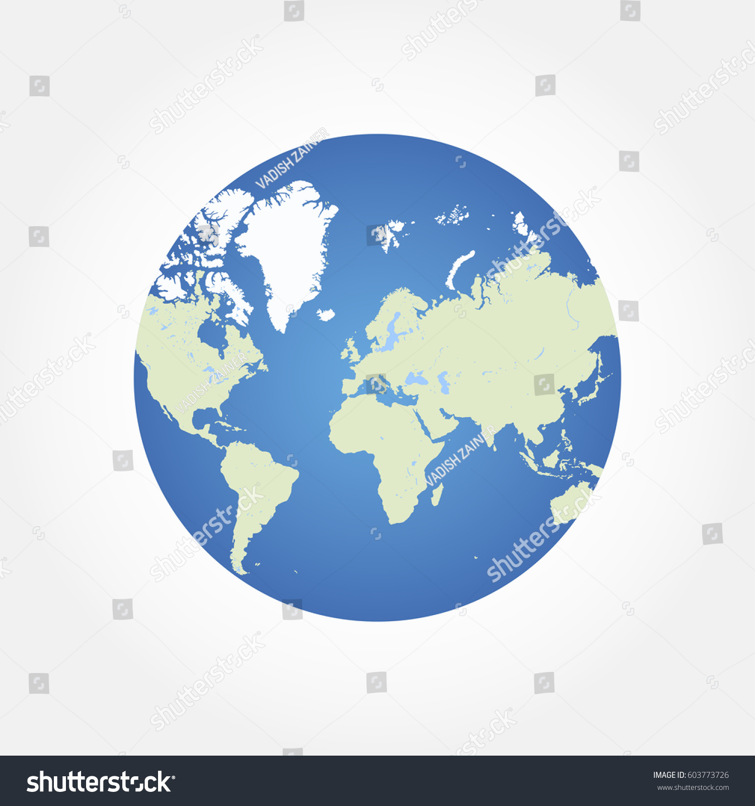 Round Globe World Map Flat Vector Stock Vector - Round world map image