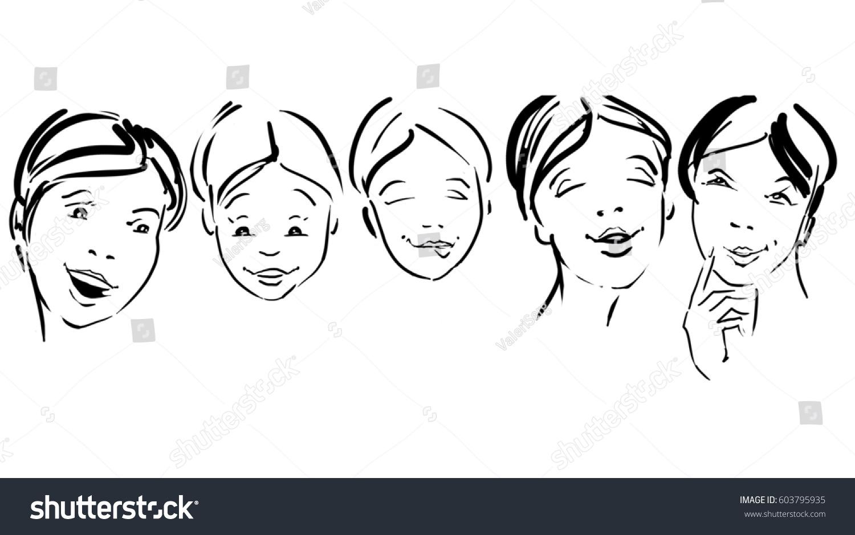 five women sketch 5 girls faces stock illustration 603795935