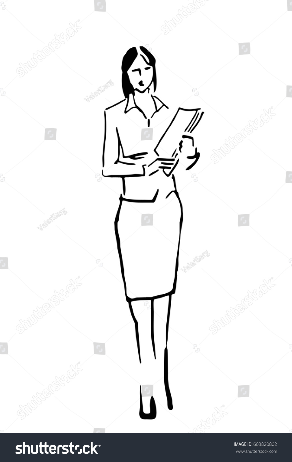Business look woman woman with papers sketch secretary teacher business lady