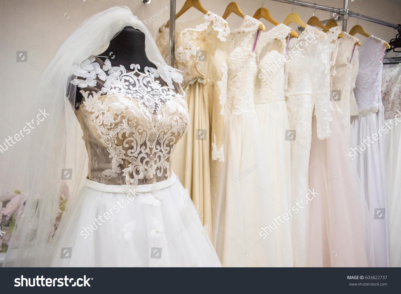 Interior Wedding Shop Wedding Dress On Stock Photo (100% Legal ...