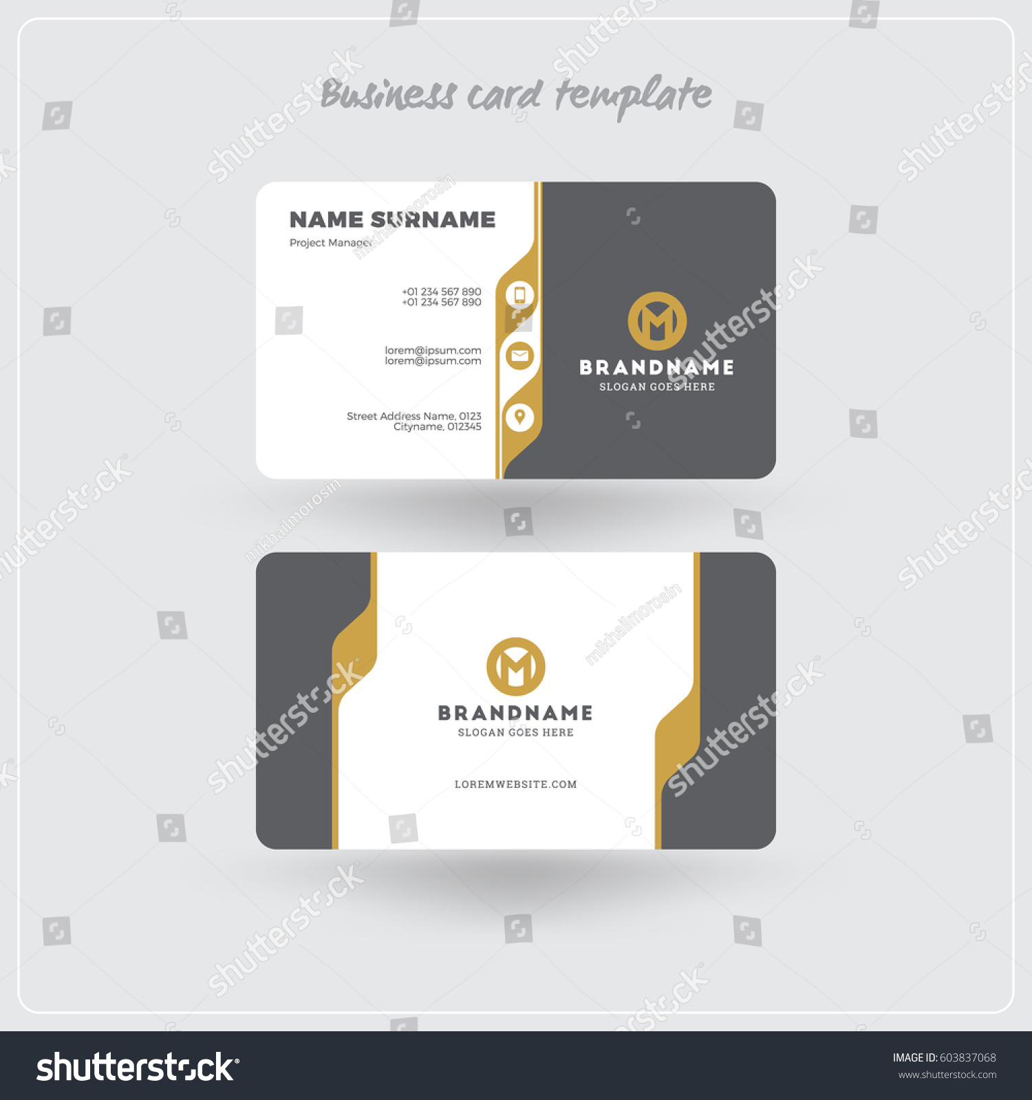 Golden gray business card print template stock vector hd royalty golden and gray business card print template personal visiting card with company logo clean cheaphphosting Image collections
