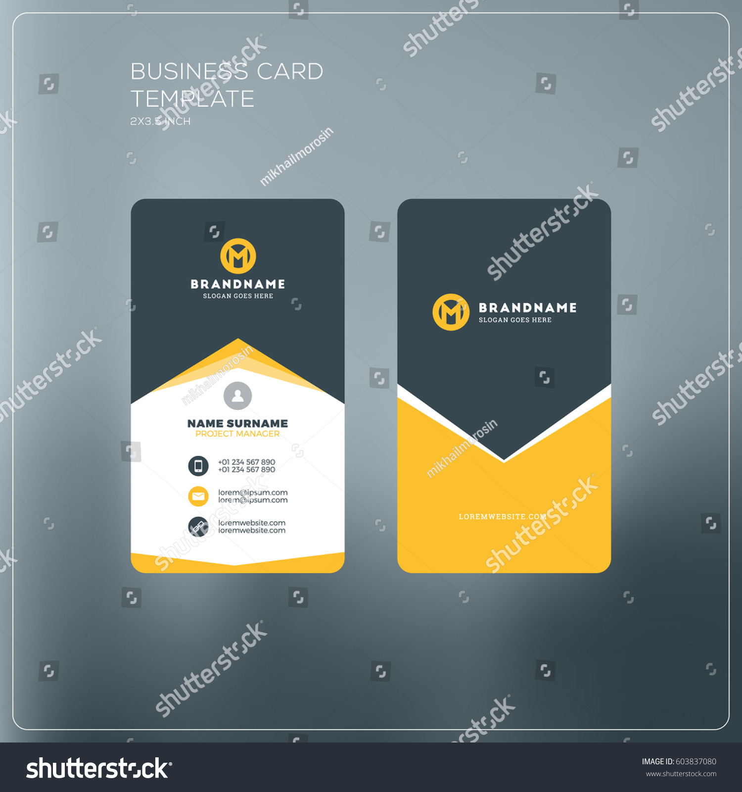 Vertical business cards with logo corporate business card print vertical business card print template personal business card with company logo black and yellow magicingreecefo Images