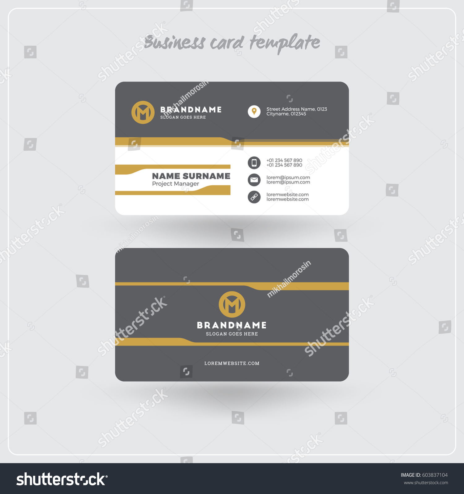 Golden gray business card print template stock vector 603837104 golden and gray business card print template personal visiting card with company logo clean magicingreecefo Gallery