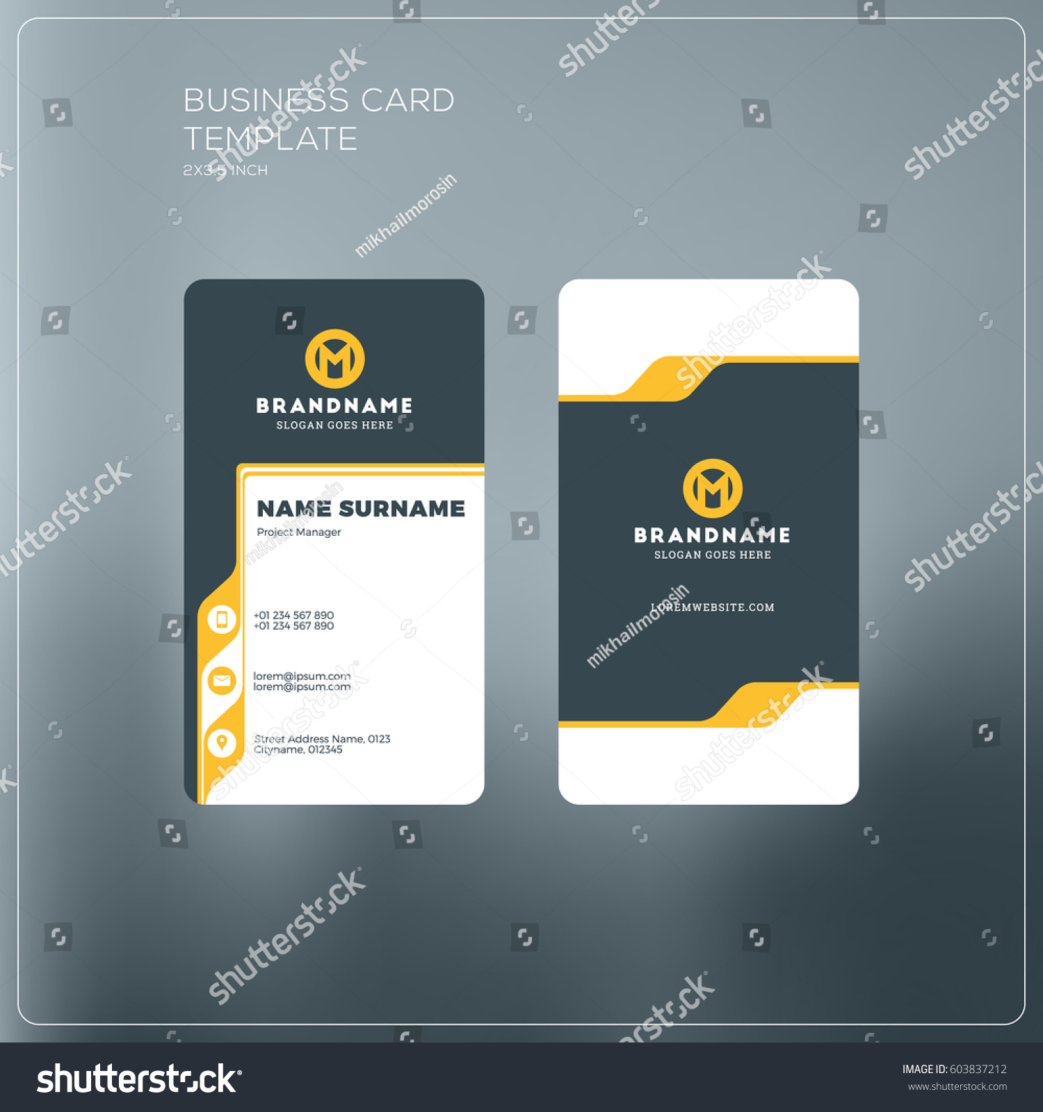 vertical business card print template personal business card with company logo black and yellow