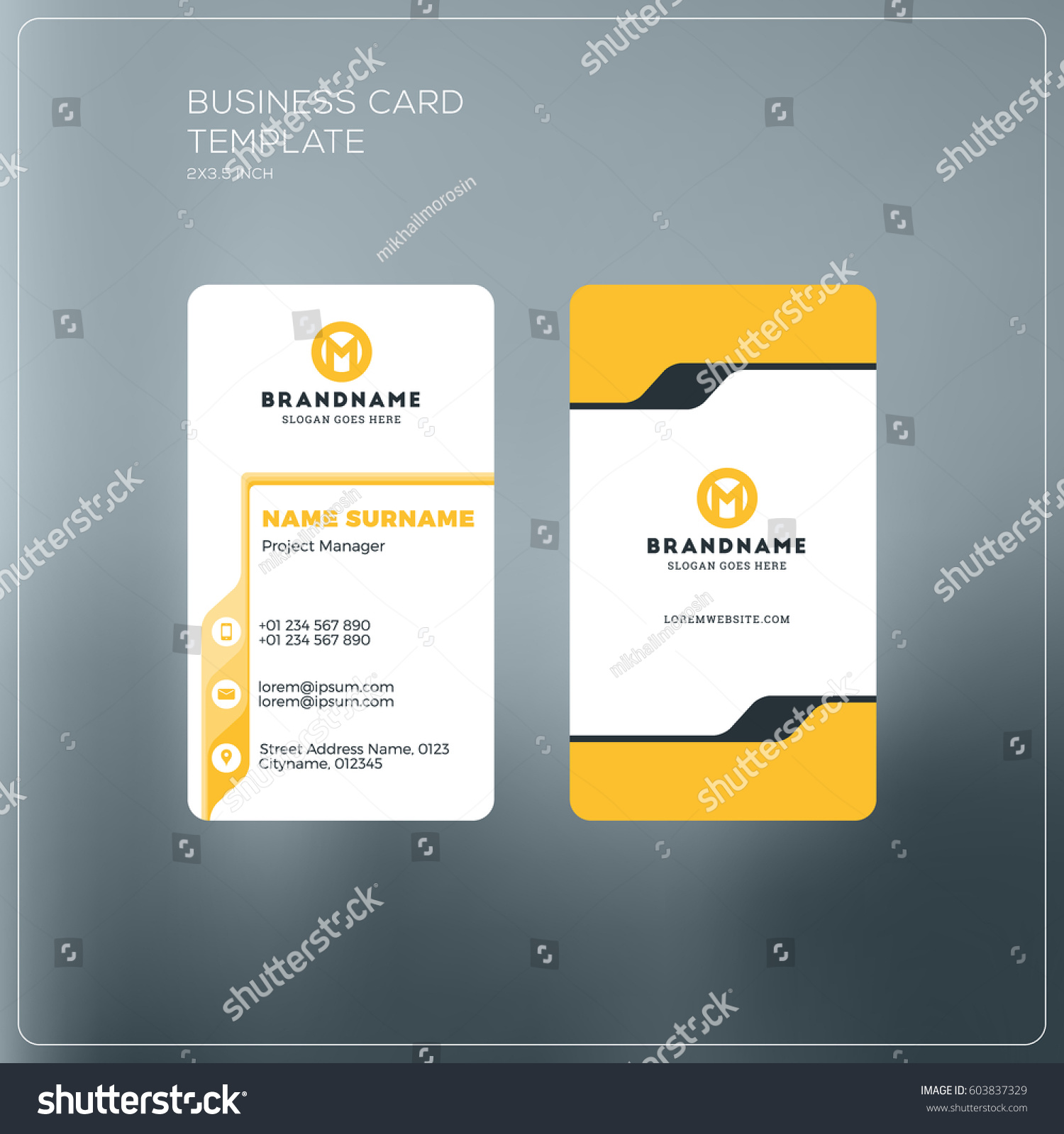 Vertical Business Card Print Template Personal Stock Vector