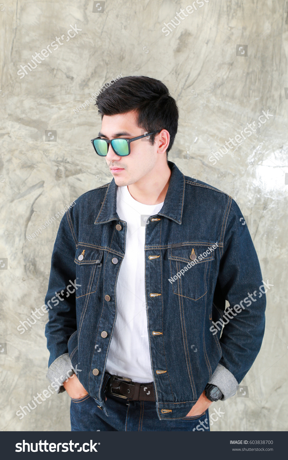 Closeup Asian Man Casual Outfits Standing Stock Photo Edit Now