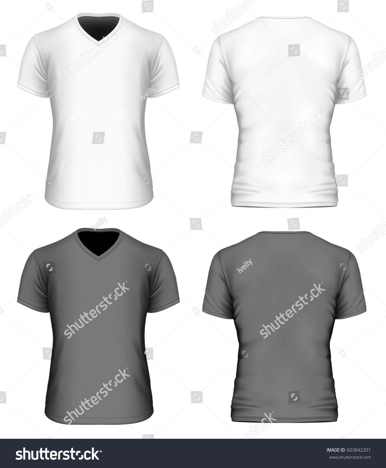 Black t shirt vector front and back - Men S V Neck Short Sleeve T Shirt Front And Back Views Of White