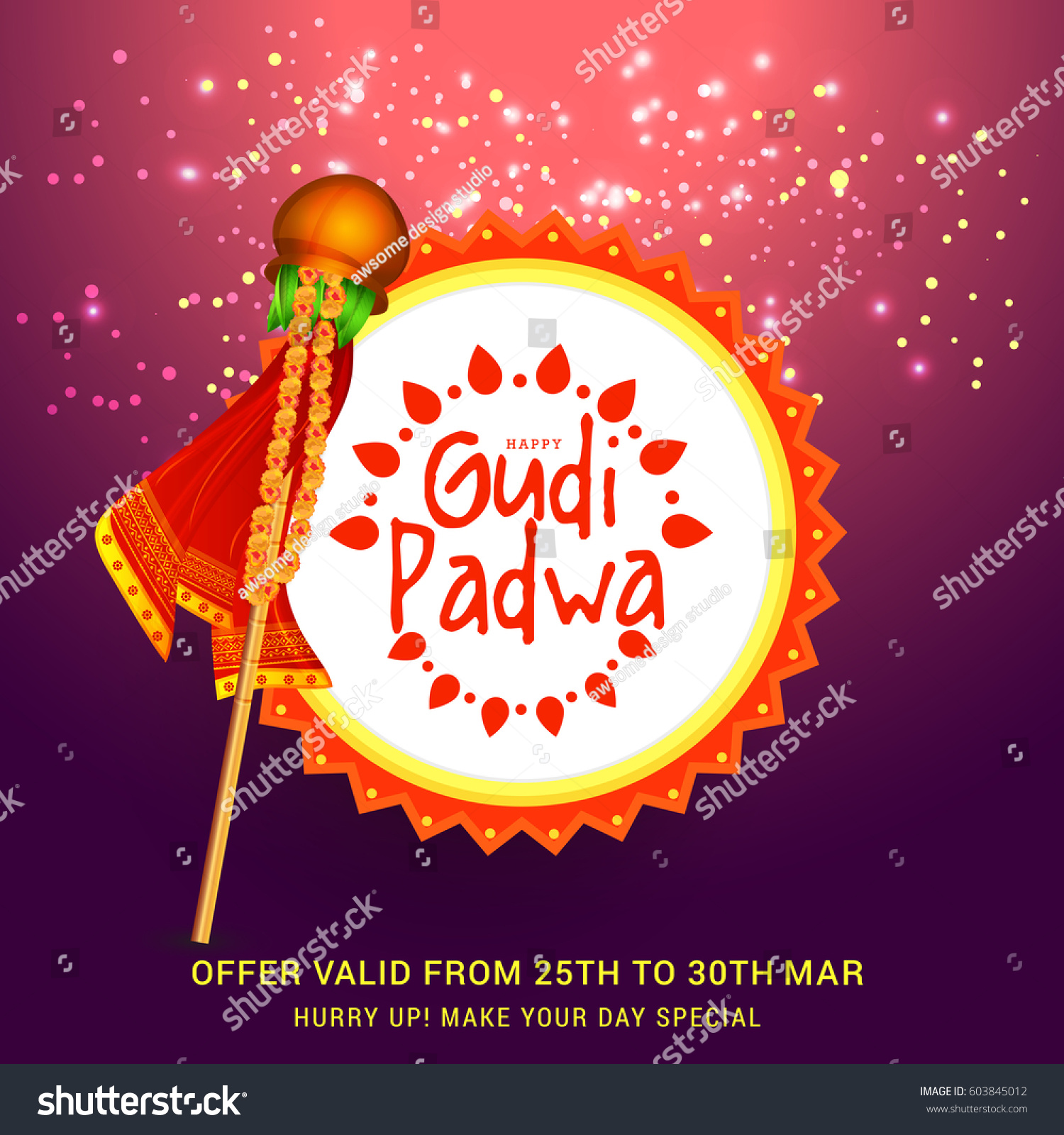 Gudi Padwa Celebration Greeting Card Background Stock Vector Hd