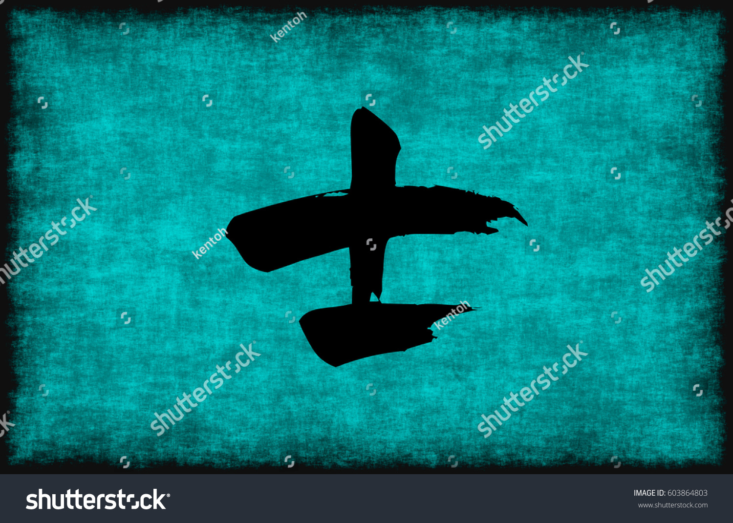 Chinese Character Painting Warrior Blue Concept Stock Illustration