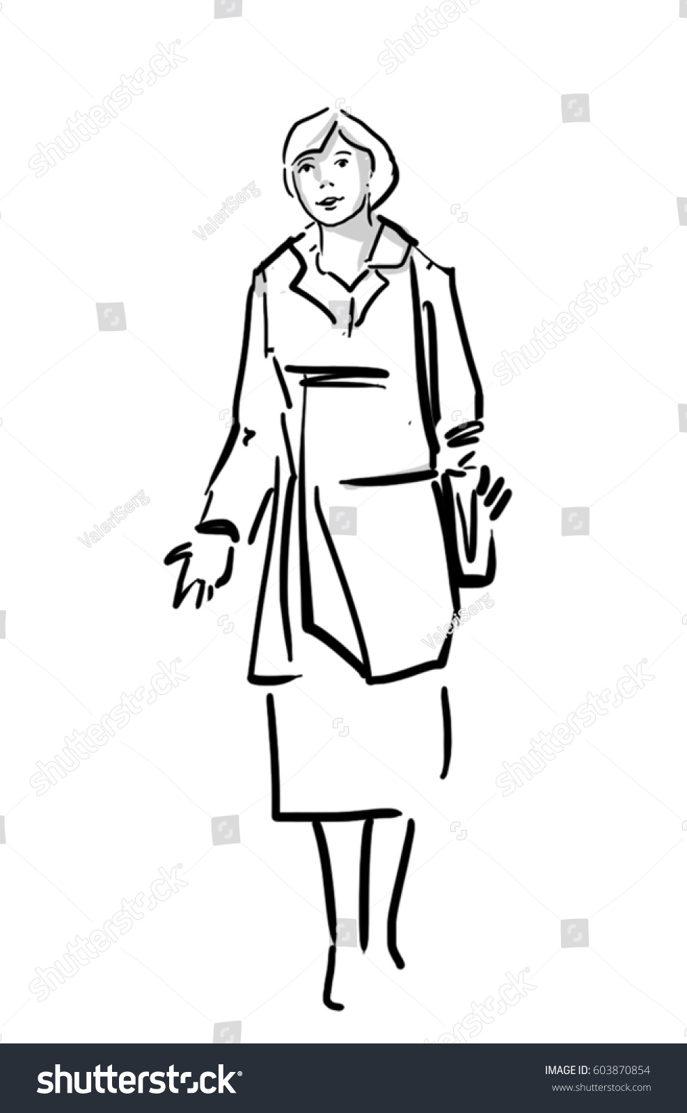 Isolated woman standing full body middle age woman dressed in a coat and skirt