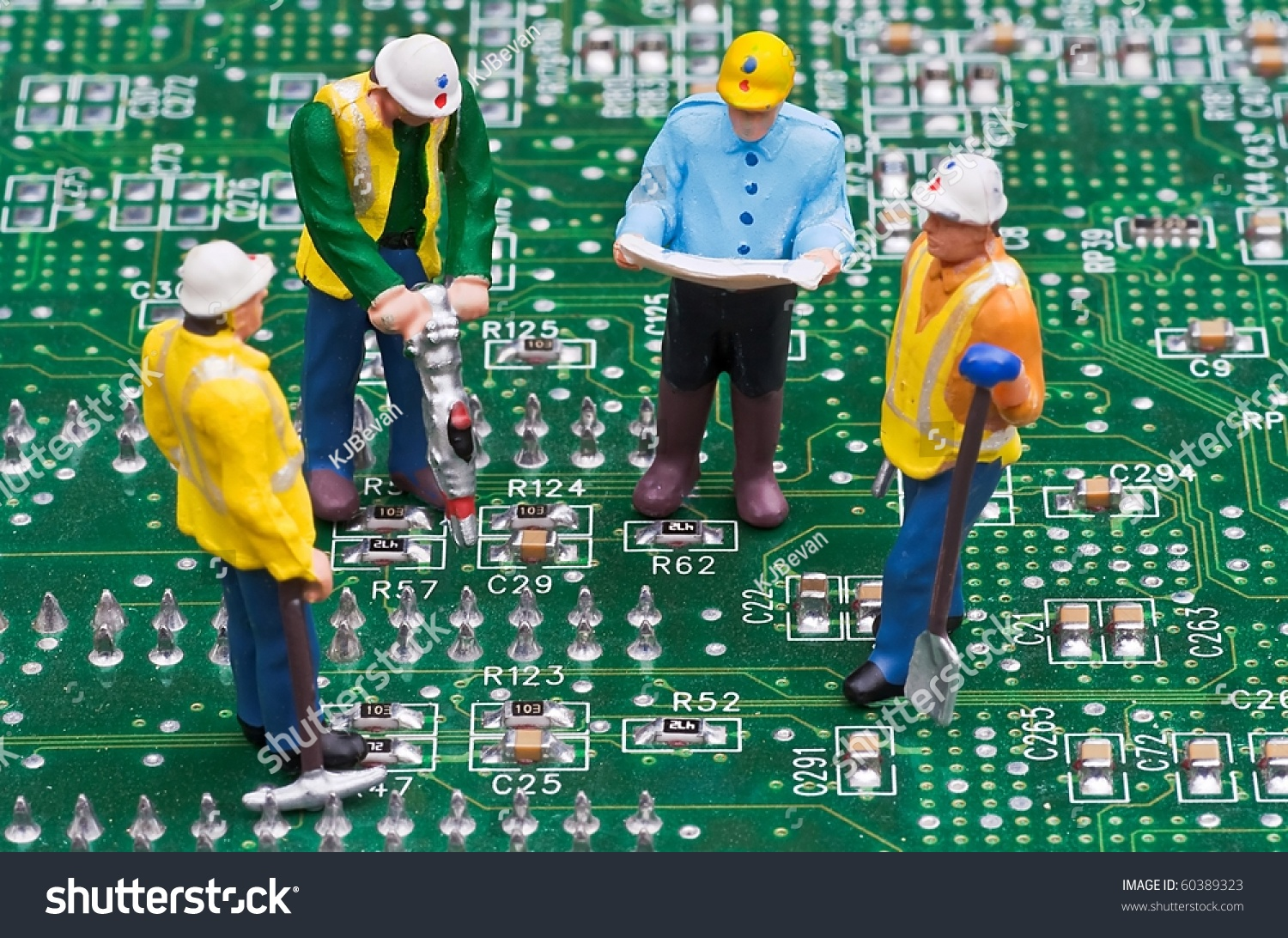 Engineers Fixing Computer Circuit Board Stock Photo Edit Now Circuitry Of An Electronic Calculator Royalty Free Photography