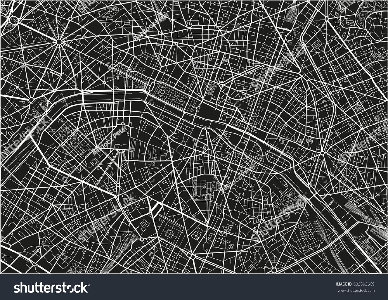 Paris Map Black And White.Black White Vector City Map Paris Stock Vector Royalty Free