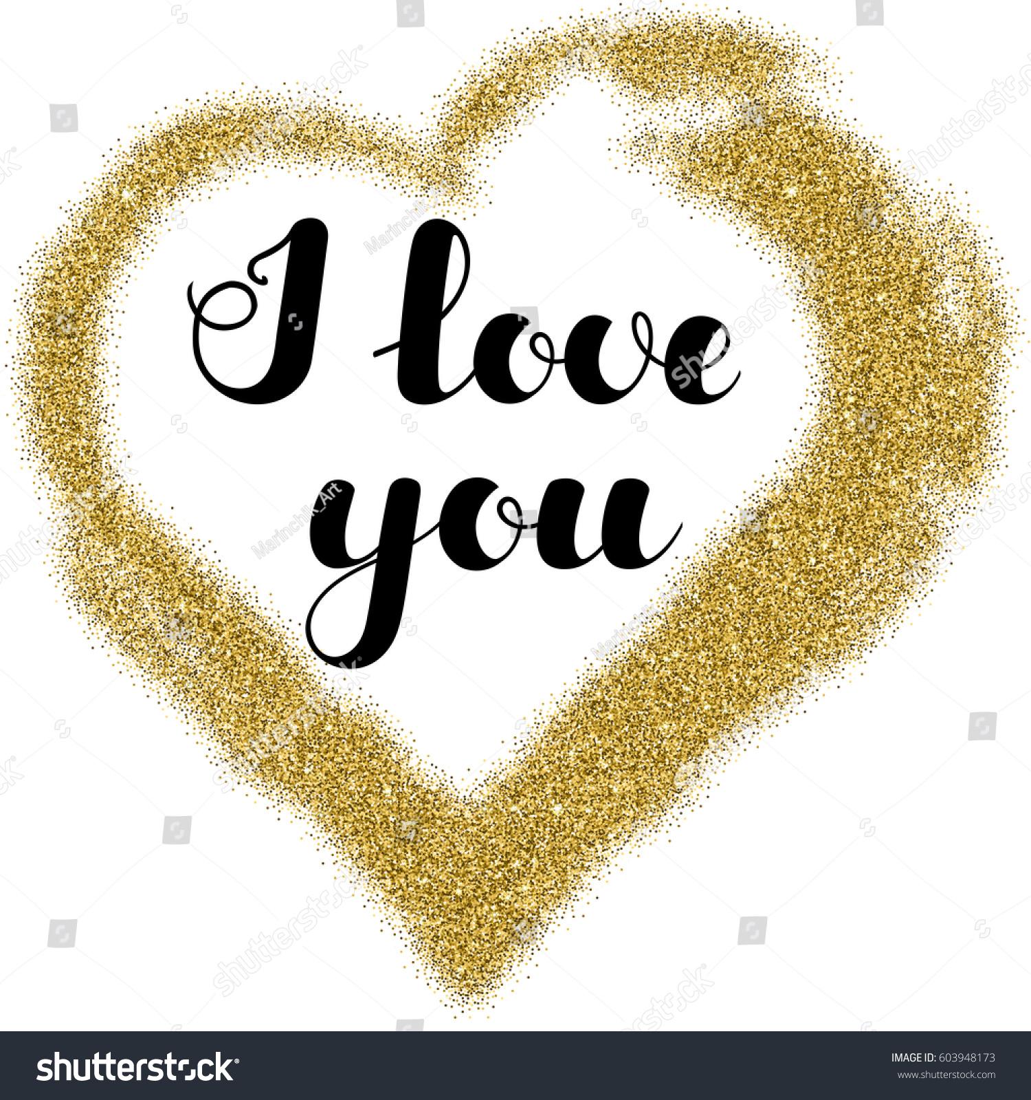 Lettering I Love You Frame Heart Stock Vector 603948173 - Shutterstock