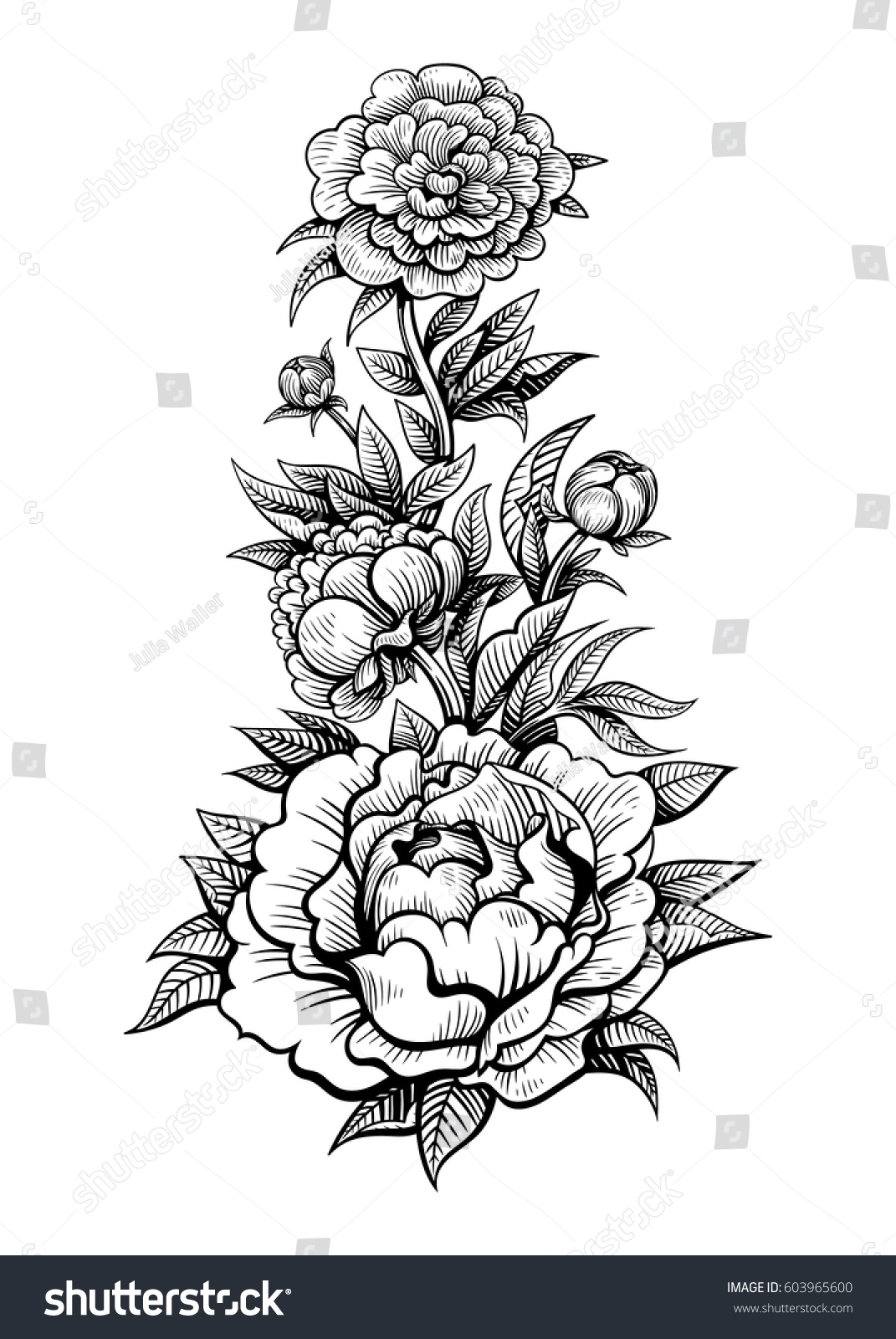 Vector Black White Flowers Tattoo On Stock Vector Royalty Free