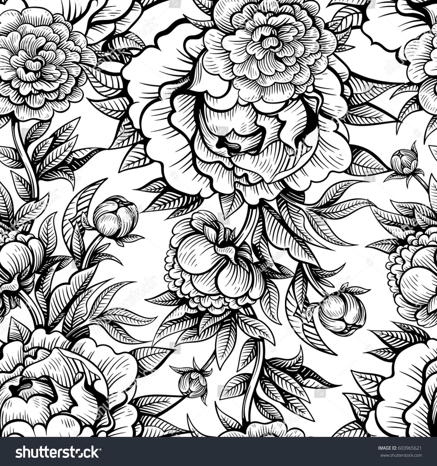 Vector Black White Vintage Flowers Seamless Stock Vector Royalty