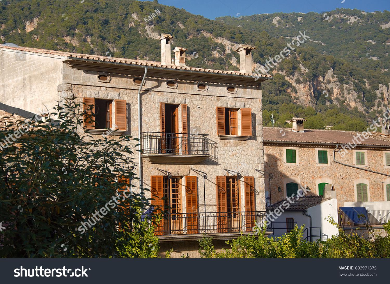 Classical spanish villa mediterranean house exterior stock for Spanish villa house