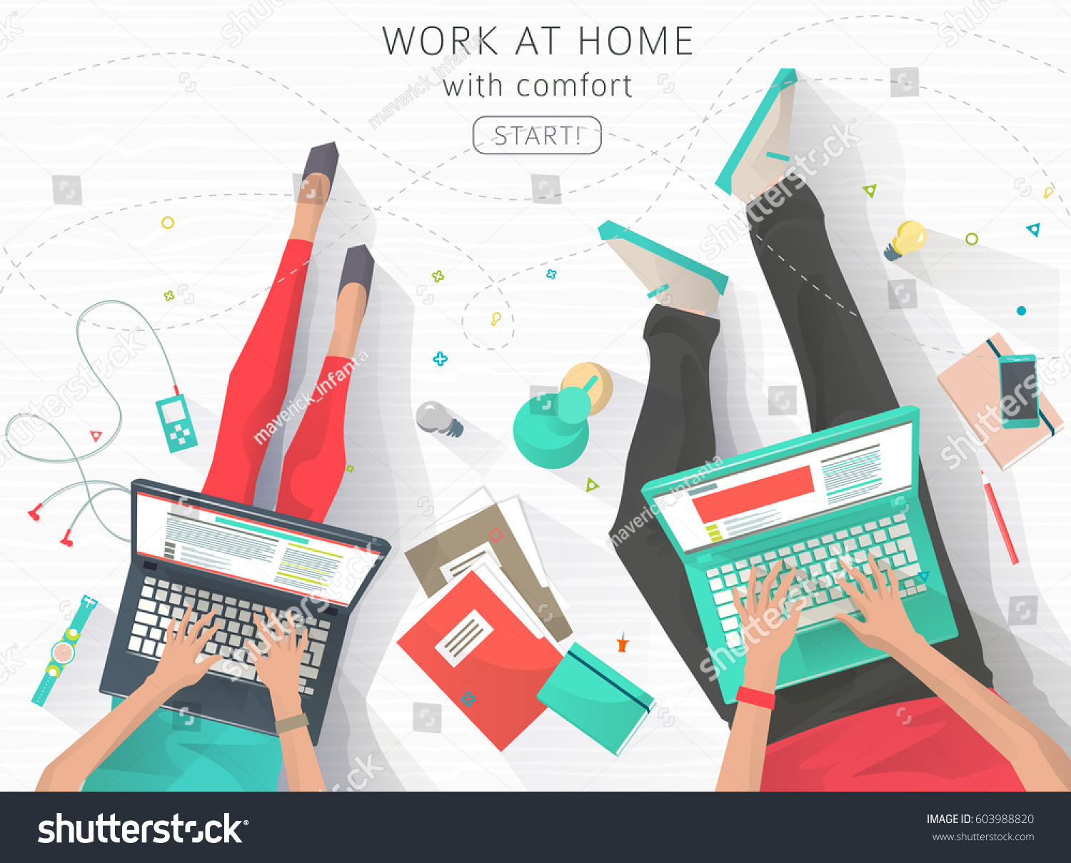 Concept Working Home Relaxation Work Wherever Stock Vector 603988820 ...