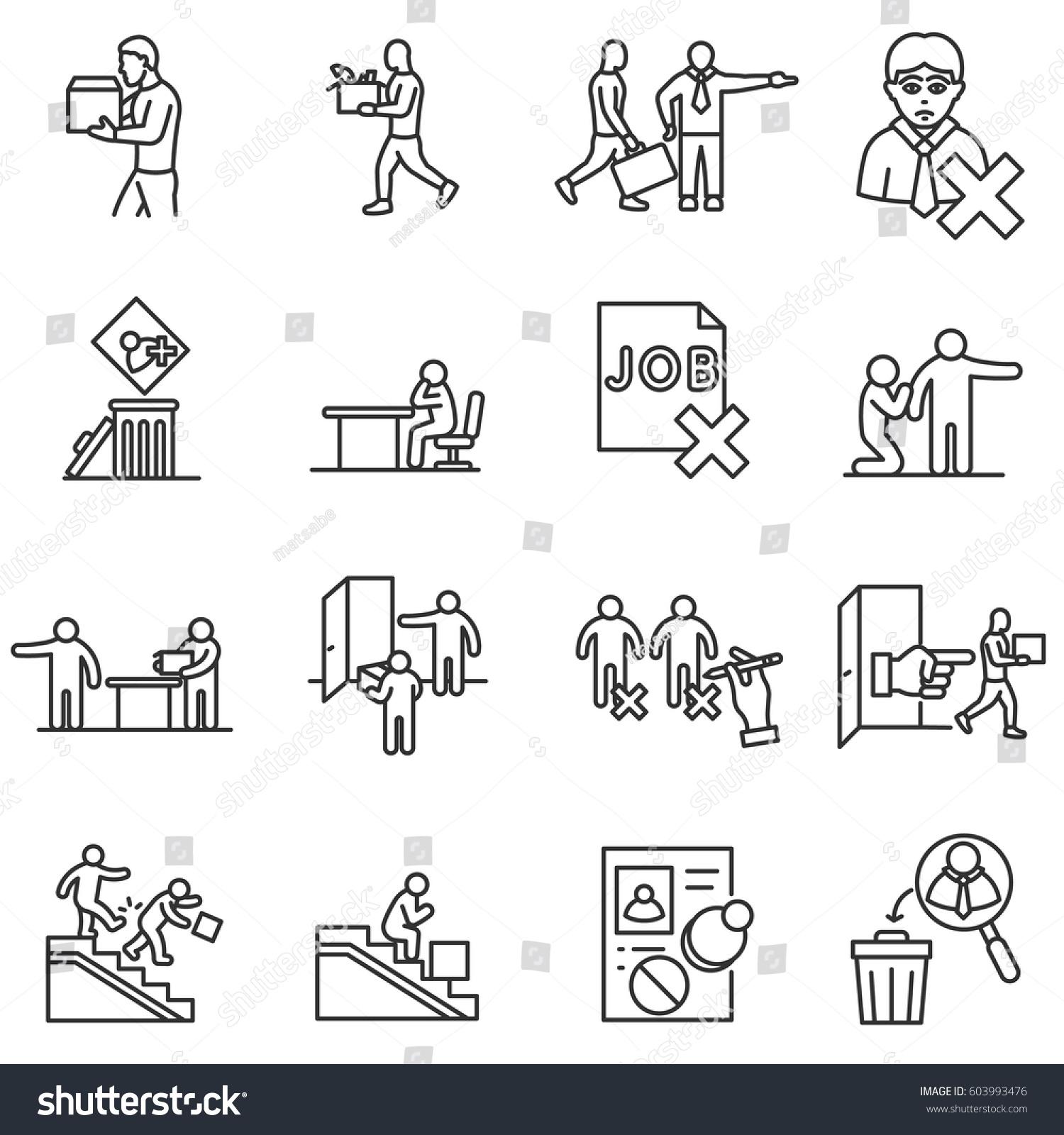 Dismissal Work Icons Set Termination Employment Vector – Termination of Employment
