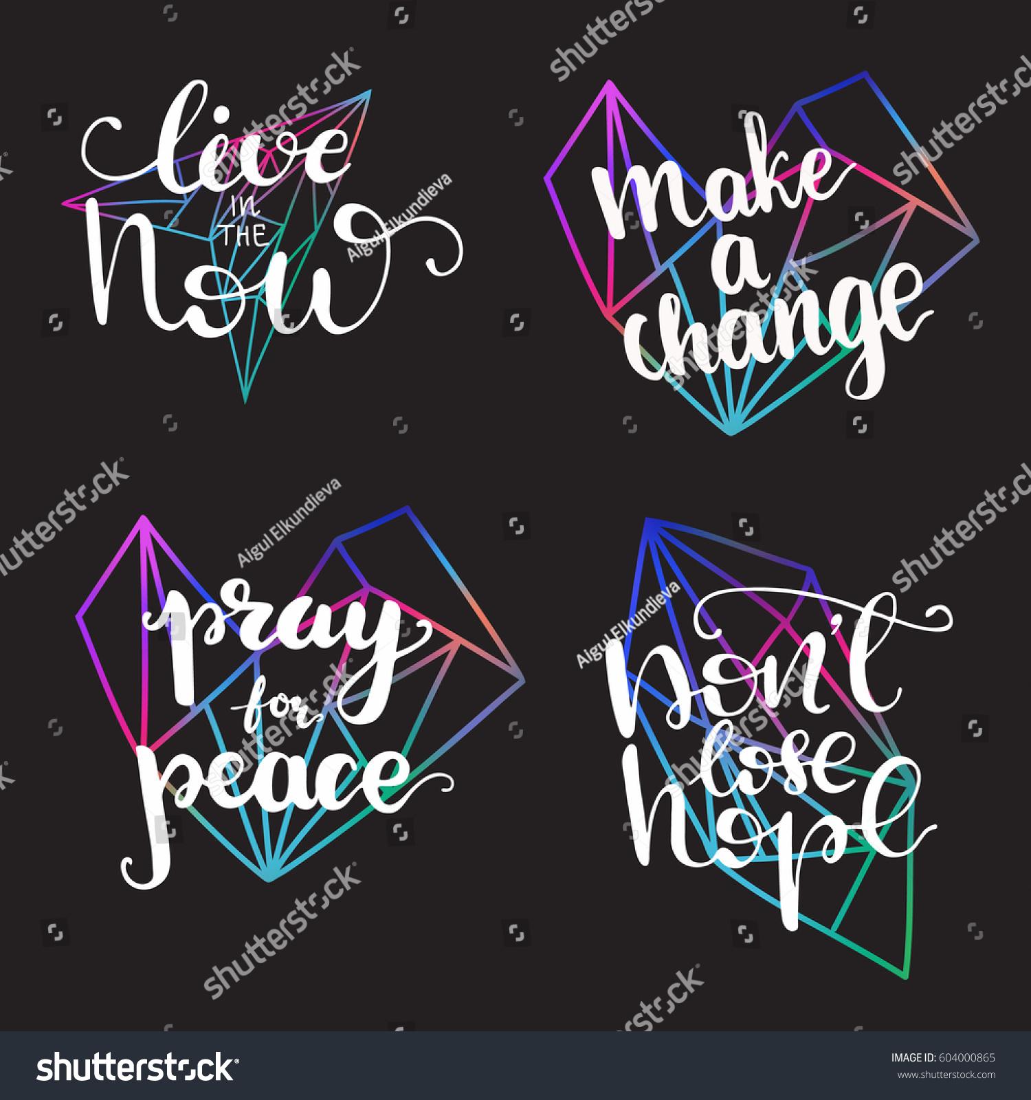 Set Vector Inspirational Quotes Pray Peace Stock Vector Royalty