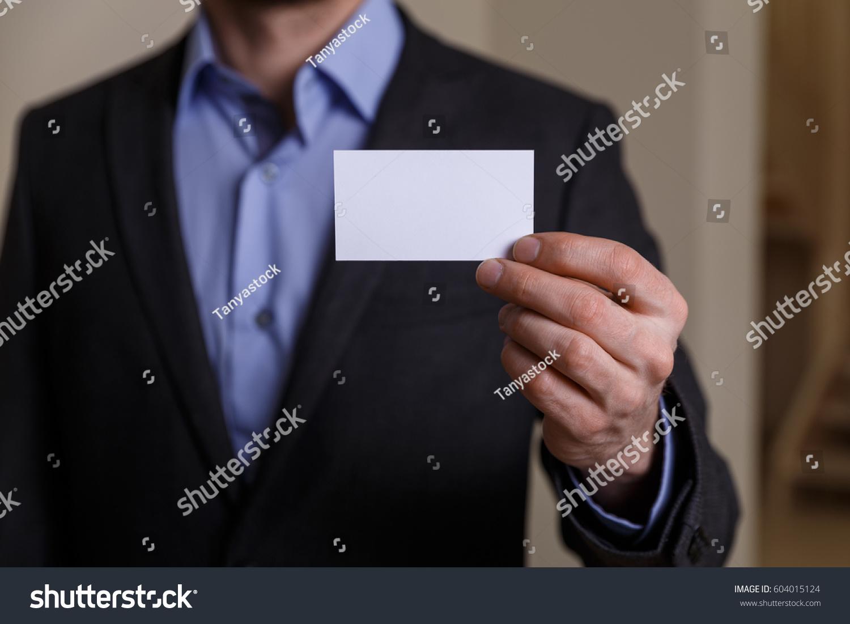 Businessman Holding Visit Card Man Showing Stock Photo 604015124 ...