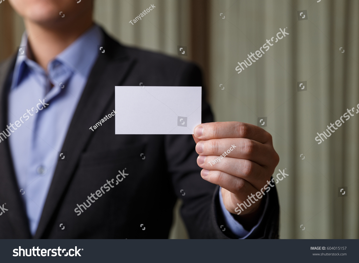 Businessman Holding Visit Card Man Showing Stock Photo 604015157 ...