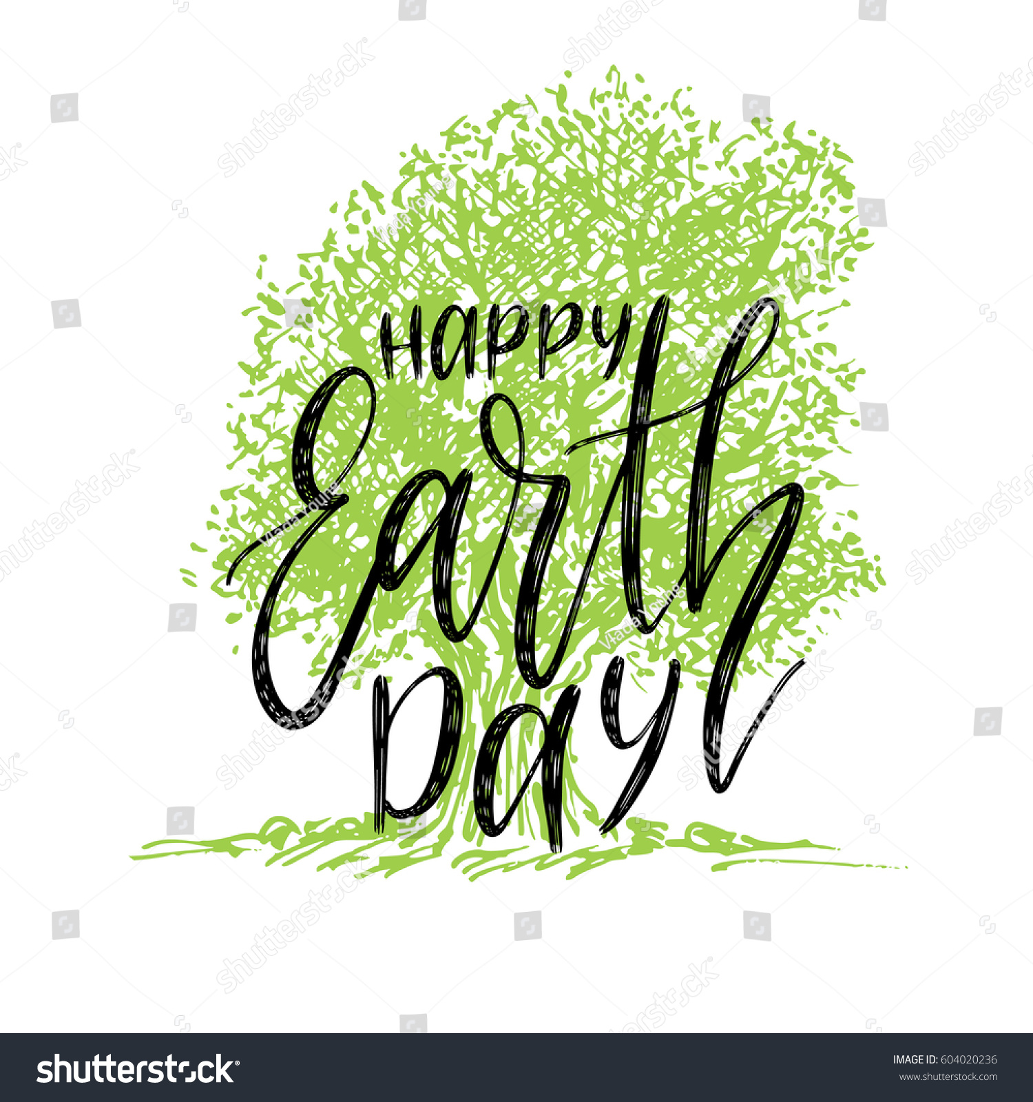 happy earth day hand lettering background stock vector 604020236