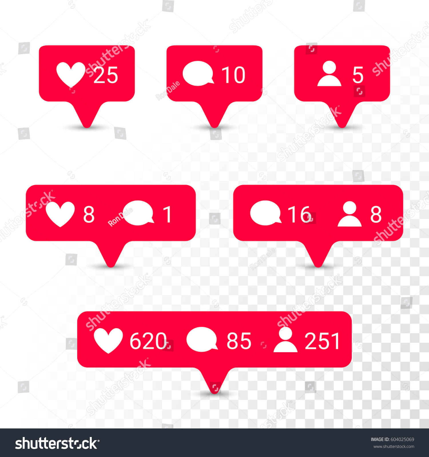 Red notifications vector icons templates social stock vector red notifications vector icons templates social network app symbols of heart like new message biocorpaavc Images