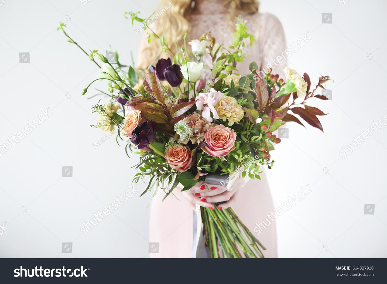 Unusual Wedding Stylish Bouquet Orange White Stock Photo Edit Now