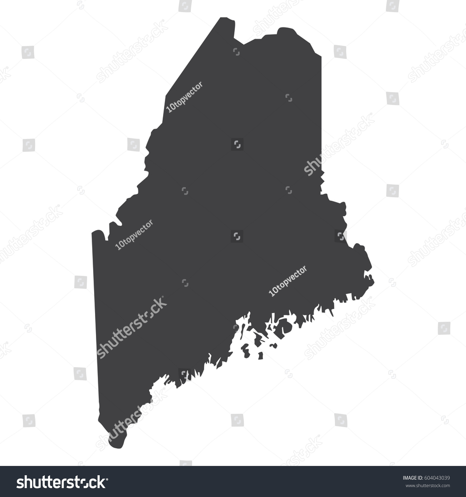 Maine State Map Black On White Stock Vector (Royalty Free ...