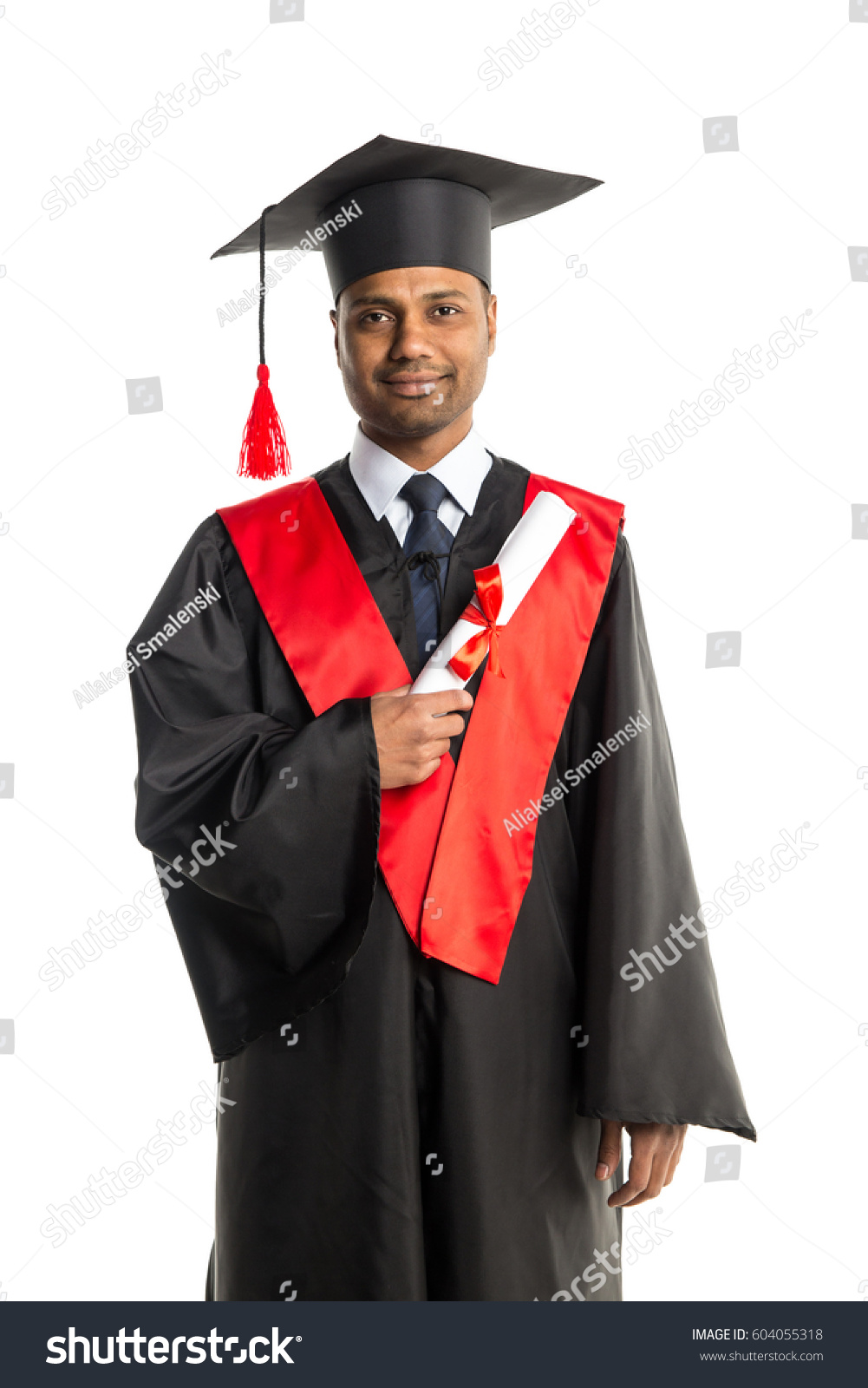 Male African American Graduate Gown Cap Stock Photo (Royalty Free ...