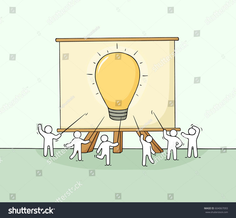 Cartoon Working Little People Big Board Stock Vektorgrafik