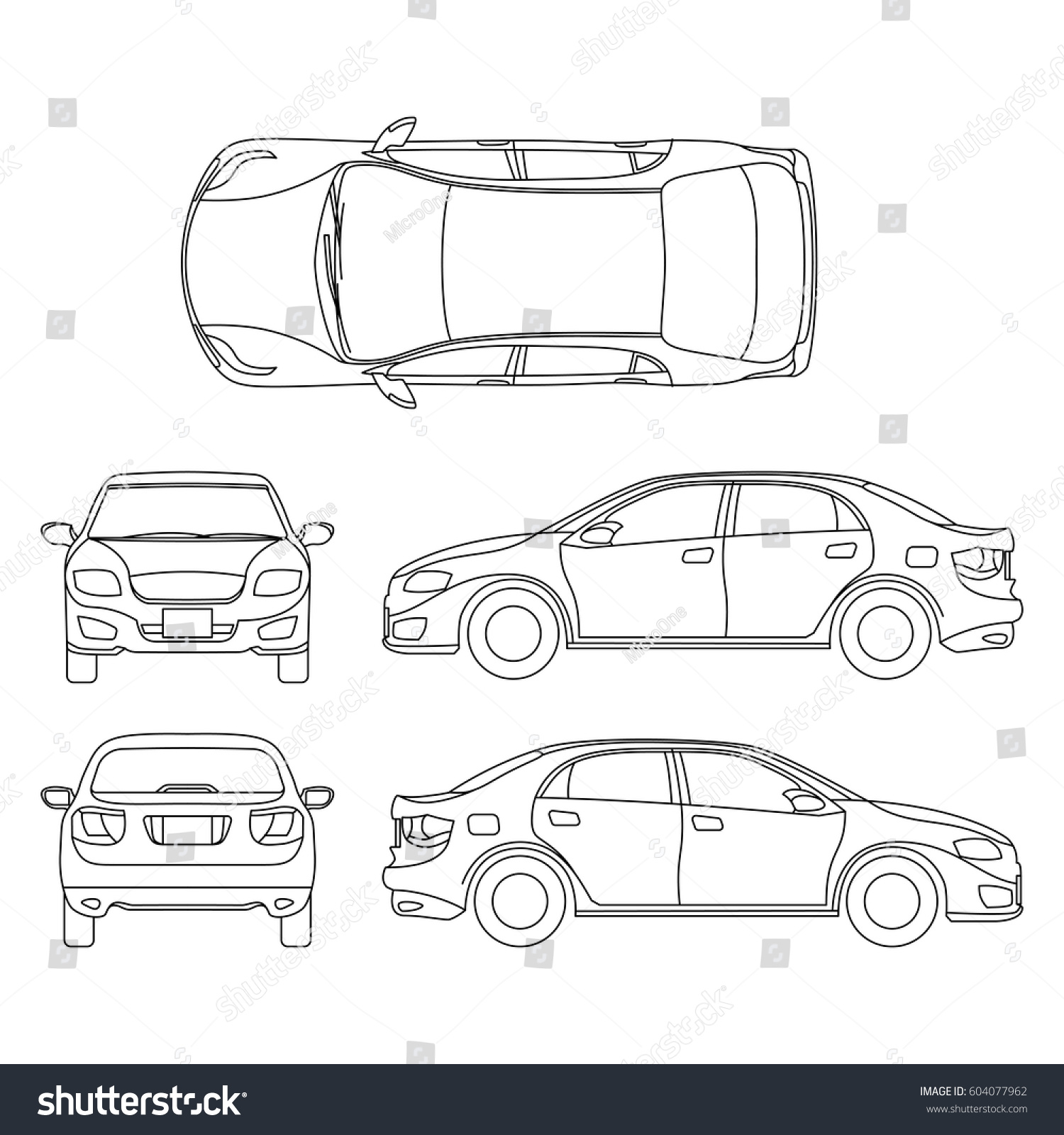 outline sedan car vector drawing different stock vector 604077962 shutterstock. Black Bedroom Furniture Sets. Home Design Ideas