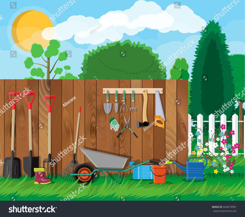 Gardening Tools Set Equipment Garden Saw Stock Vector (Royalty Free ...