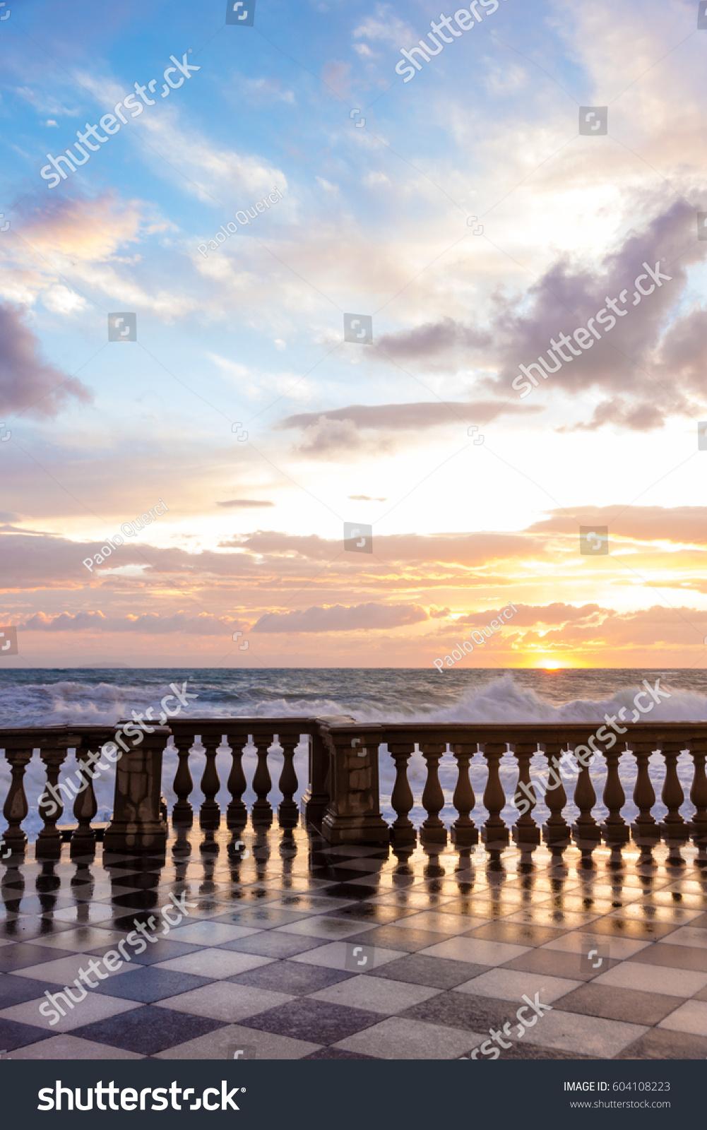 Terrazza Mascagni Livorno Sunset Stock Photo (Royalty Free ...