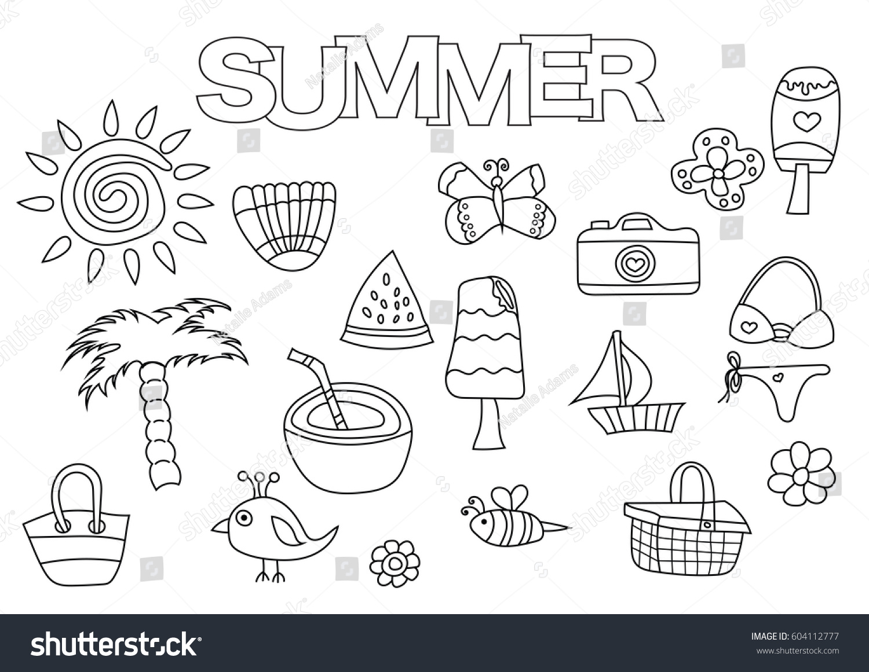 Summer Elements Hand Drawn Set Coloring Book Template Outline Doodle Vector Illustration